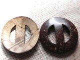 木 ココナッツのバックル 外径44mm バックル内径22mm 2個