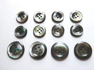 画像1: 黒蝶貝ボタン スーツ専用型 1着分セット 最高級ボタン SH-2202