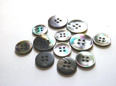 画像5: 黒蝶貝ボタン スーツ専用型 1着分セット 最高級ボタン SH-2203