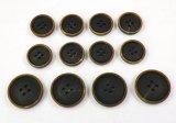 本水牛釦 スーツ(1)着分 黒色 最高級の凝ったビンテージ加工 1050VI