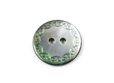 画像1: 最高級黒蝶貝ボタン  エレガント彫刻 2穴 SL004